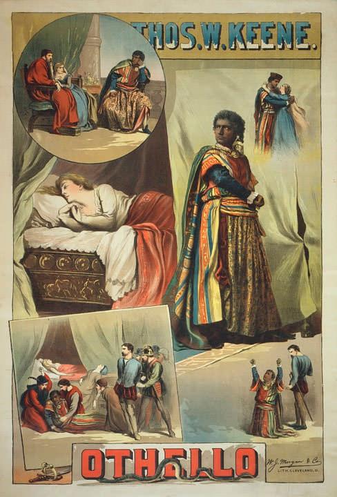 Уильям Шекспир пьеса Отелло Плакат 1884 год