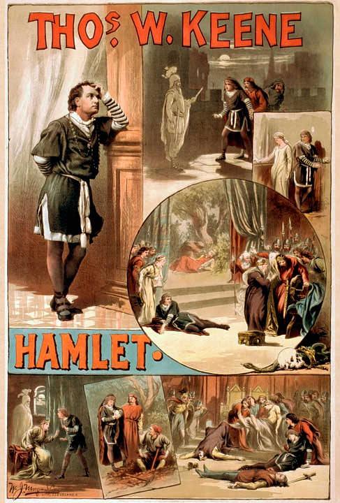 Уильям Шекспир пьеса Гамлет Плакат 1884 год
